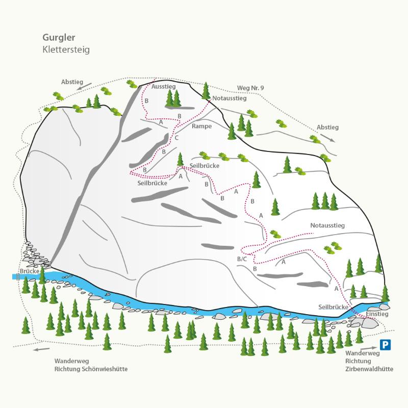 Feerrata-Topo Klettersteig Zirbenwald I climbhow xhow Innsbruck